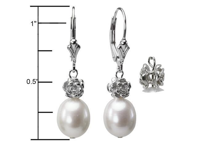 Isabella Rose 9-10mm Pearl Drop Silver Earrings, White