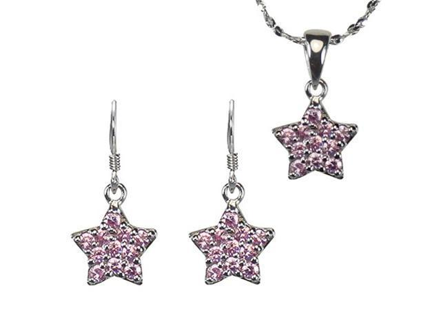 Pink Sapphire Cubic Zirconia Pave Star Silver Pendant Necklace Earrings Set 18