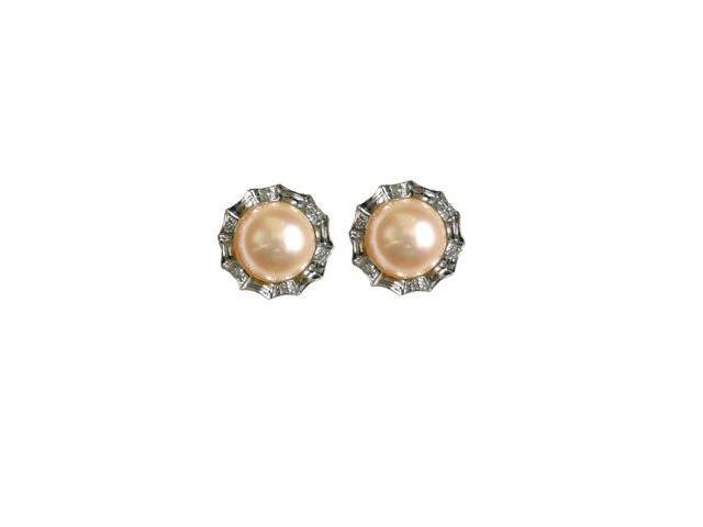 Crystal Circlet Cultured Pearl Platinum Overlay Silver Stud Earrings, Peach Pink