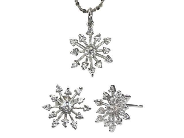 Snowflake Diamond Cubic Zirconia Silver Pendant Necklace & Earrings Set