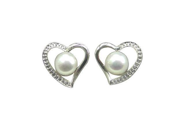 Cursive Heart Shaped White Cultured Pearl Sterling Silver Stud Earrings