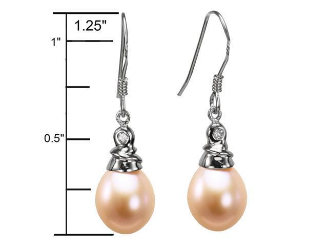 Crystal Top 8-9mm AAAA Drop Pearl Platinum Overlay Silver Earrings, Peach