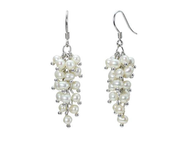 White Cultured Pearl Platinum Overlay Sterling Silver Bunch Earrings