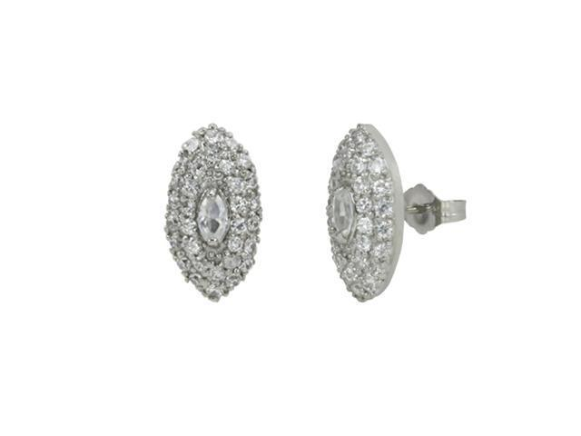 Cubic Zirconia Marquise Platinum Overlay CAREFREE Sterling Silver Stud Earrings