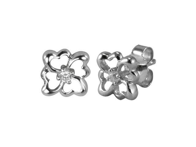 Four Leaf Clover Diamond Cubic Zirconia Sterling Silver Stud Earrings