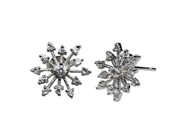 Sparkling Diamond Cubic Zirconia Snowflake Sterling Silver Stud Earrings