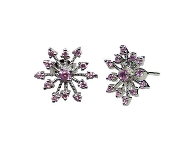 Sparkling Pink Sapphire Cubic Zirconia Snowflake Sterling Silver Stud Earrings