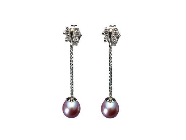 Dainty Sweet Butterfly Dangling Pearl Sterling Silver Earrings, Lavender