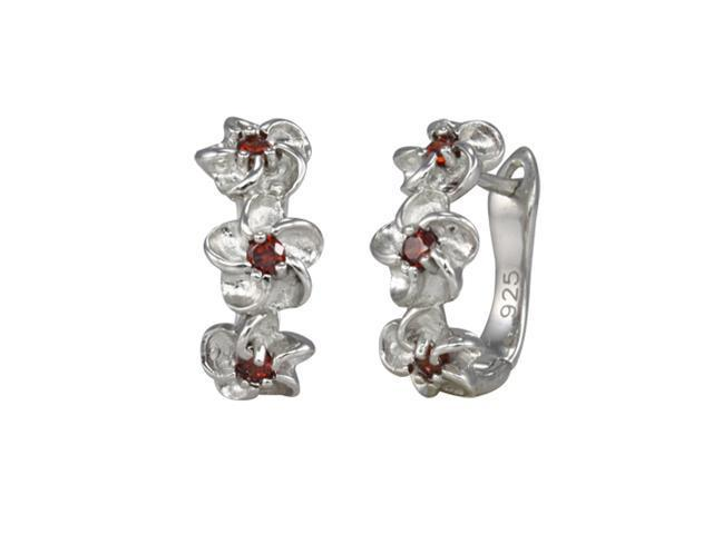 Daisy Chain Garnet Cubic Zirconia Platinum Overlay Silver Hoop Earrings