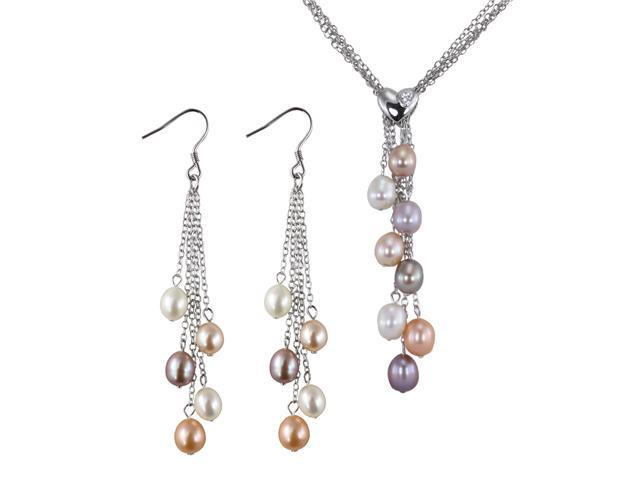 4-Strand Silver Heart Crystal Multi-color Cultured Pearl Lariat & Earrings Set