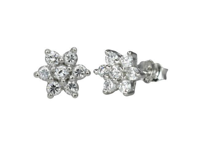 Six Sided Star Diamond Cubic Zirconia Platinum Over Silver Stud Earrings