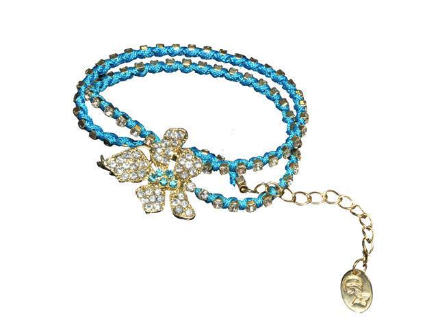 Crystal Flower Cubic Zirconia Blue Cord Double Wrapped Fashion Bracelet