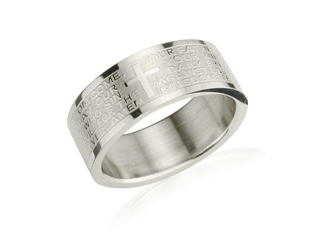 Stainless Steel English Lord's Prayer 8mm Band Ring - Men (Size 7)