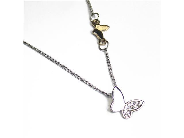 Silver Tone Cubic Zirconia and Gold Accent Mini Butterfly Pendant Necklace
