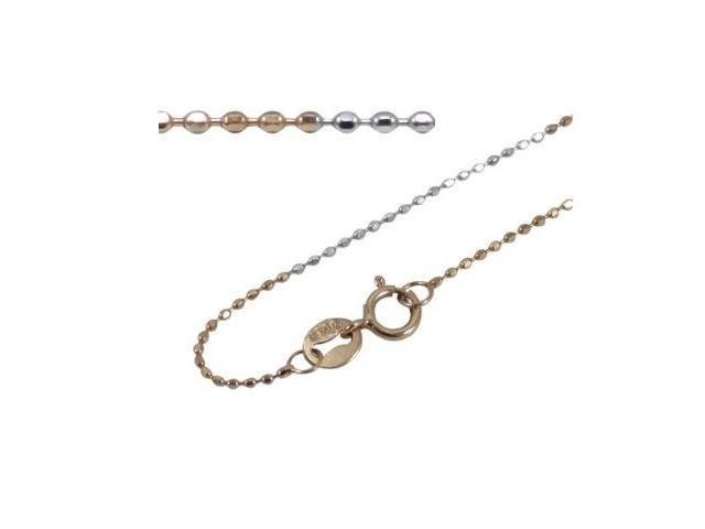 18k Dual White & Rose Gold 0.75mm Sparkling Beaded Chain 16
