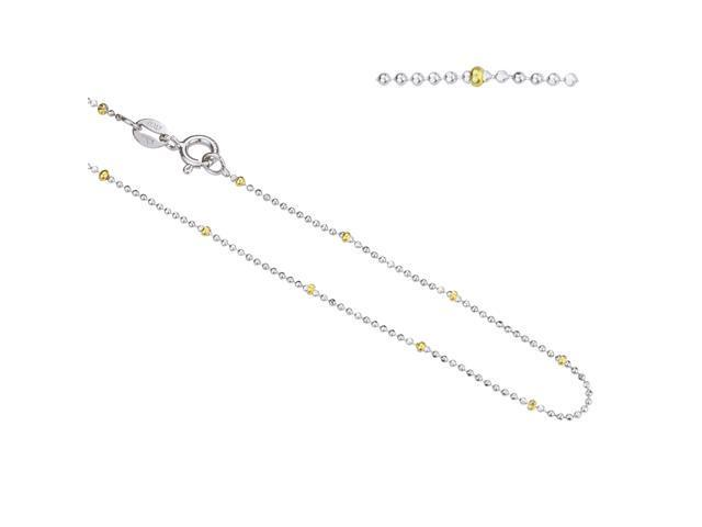 Italian Two Tone Fancy Beaded Sterling Silver Chain 16