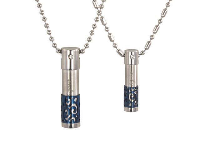 Only Love Cylinder CZ Blue Lattice Stainless Steel Couple Necklace Set 16