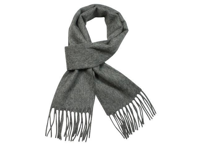 100% Wool Winter Classic Solid Color Tassels Ends Long Scarf - Grey