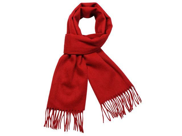 100% Wool Winter Classic Solid Color Tassels Ends Long Scarf - Red