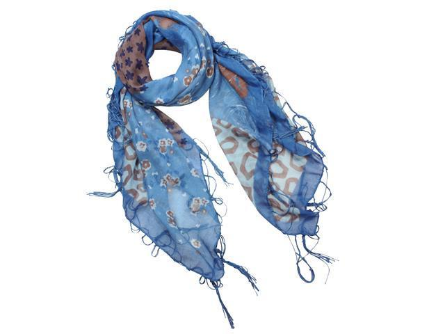 Multi Flowers Leopard Pattern Cotton Sheer Square Scarf Shawl Sarong - Blue