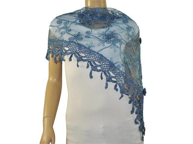 Rayon Polyester Embroidered Scroll Vine Lace Tassels Triangle Scarf - Blue