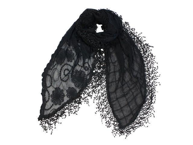 Cotton Polyester Half Embroidered Flowers & Solid Lace Long Scarf - Black