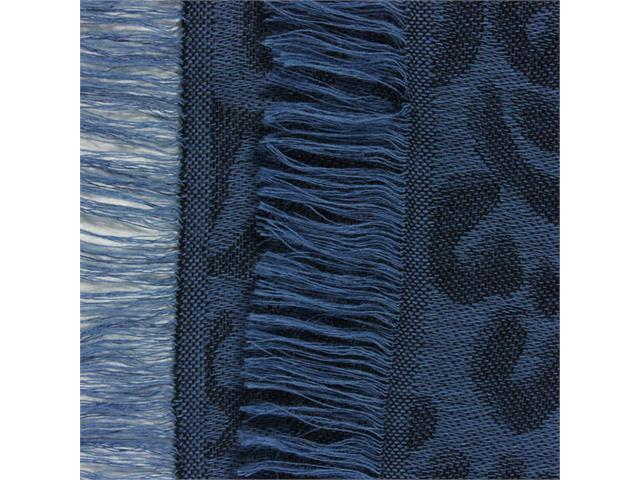 Leopard Lover Viscose Frayed Edges Large Square Scarf Shawl - Blue