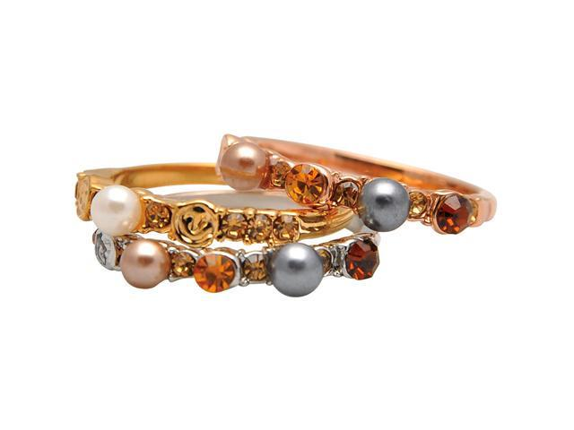 Triple Multicolor Pearl & Crystal Tricolor Gold Tone Stackable Ring Set - Size 6