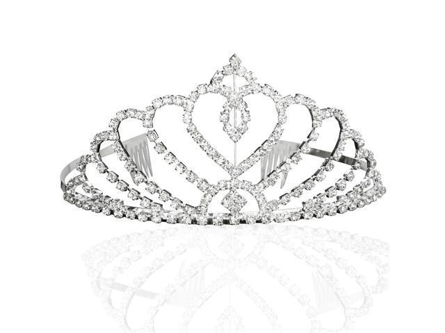 Bridal Wedding Princess Tiara Crown With Blooming Crystal Hearts