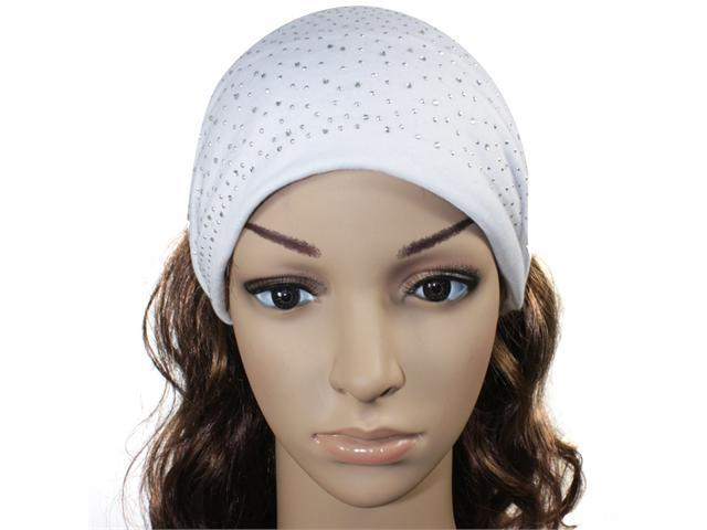 Sparkling Rhinestone and Dots Wide Elastic Cotton Headband - White