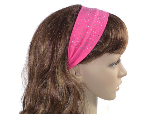 Simple Sparkling Rhinestone Stretch Cotton Headband - Pink