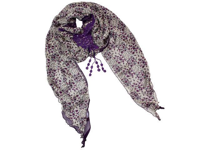 Dual Layer Chiffon Floral Rhinestone Crochet Butterfly Fashion Scarf - Purple