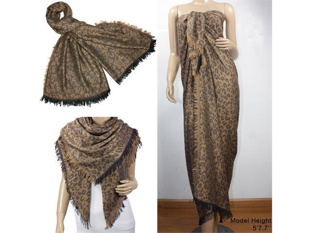 Leopard Lover Viscose Frayed Edges Large Square Scarf Shawl - Brown