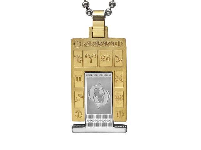 Zodiac Sign Silver Gold Tone Rectangle Stainless Steel Necklace - Pisces 24