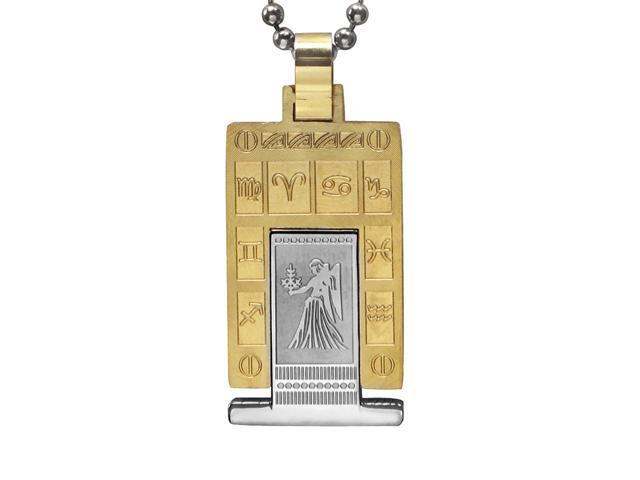 Zodiac Sign Silver Gold Tone Rectangle Stainless Steel Necklace - Virgo 18