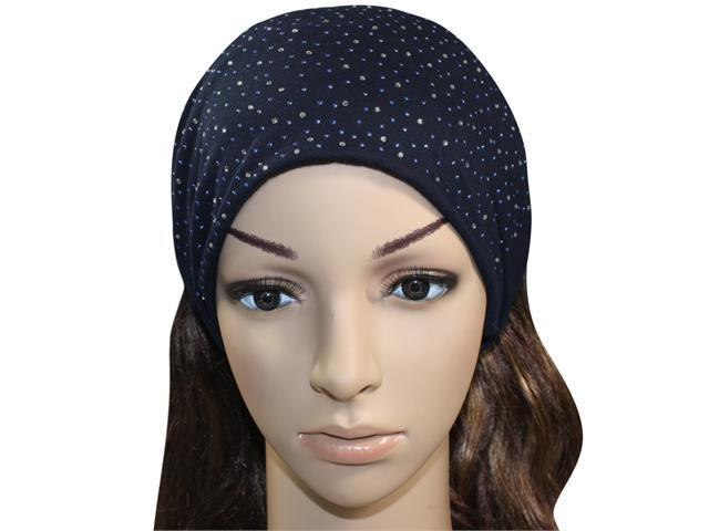 Sparkling Rhinestone and Dots Wide Elastic Cotton Headband - Blue