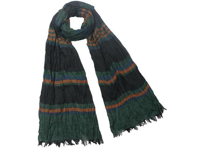Heritage Multi-Color Stripes & Blocks Crinkled 100% Rayon Scarf - Green Black
