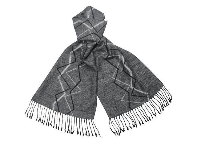 Reversible Freestyle Zigzag 100% Rayon Cashmere Feel Long Scarf - Gray