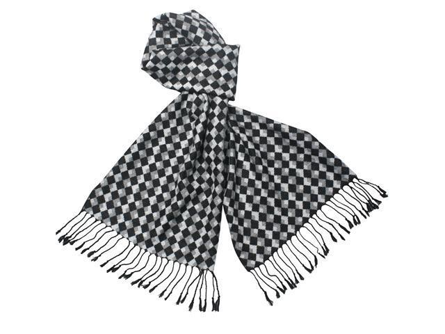 Reversible Classic Checkers 100% Rayon Cashmere Feel Tassel Ends Long Scarf