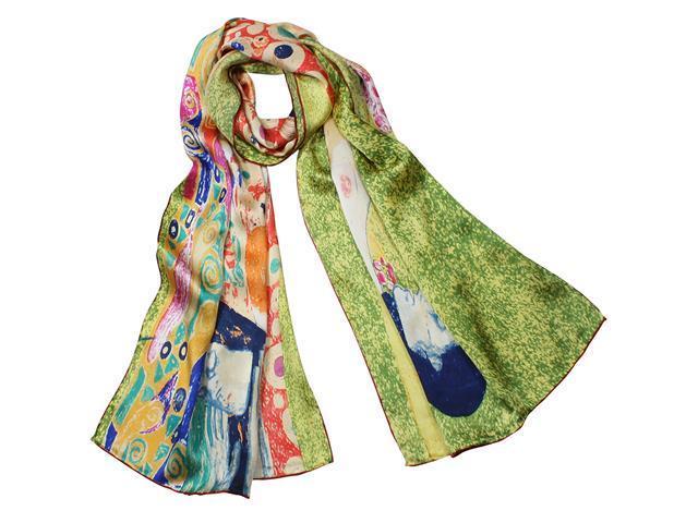 "100% Charmeuse Silk Gustav Klimt's ""Hope II"" Hand Rolled Edges Long Scarf Shawl"