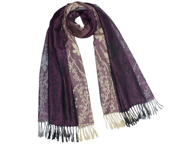 Reversible Wild Flower Triple Panel Color Rayon Acrylic Long Scarf - Violet