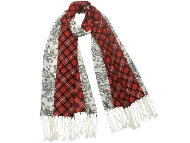 Dahlia Women's 100% Merino Wool Pashmina Scarf - Lively Plaid Leopard Print Red