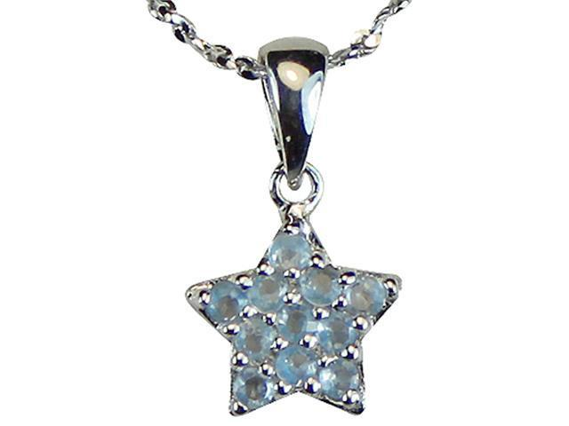 Aquamarine Cubic Zirconia Pave Star Platinum Overlay Silver Pendant ONLY