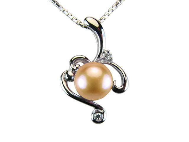 Vine Spiral Peach Pink Pearl Cubic Zirconia Platinum Silver Pendant ONLY