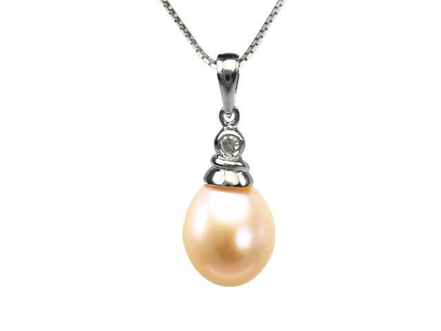 Crystal Top 8-9mm Drop Pearl Platinum Overlay Silver Pendant ONLY, Peach