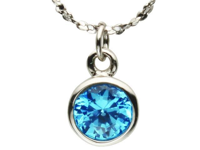 Aquamarine Cubic Zirconia 1ct 6.5mm Solitaire Bezel Silver Pendant ONLY