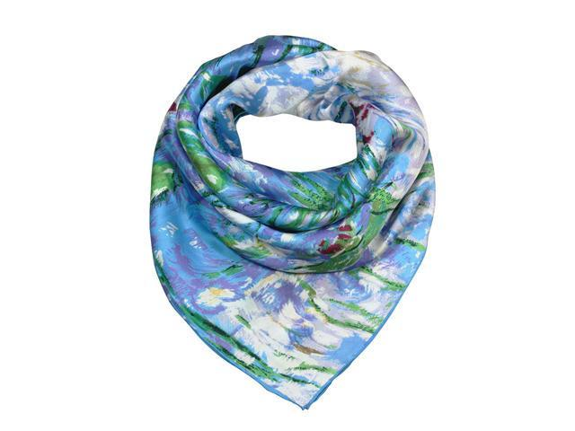 "Claude Monet's ""Water Lilies""  100% Satin Charmeuse Silk Square Scarf"