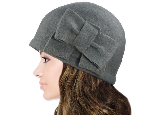 Dahlia Women's Vintage Large Bow Wool Cloche Bucket Hat - Light Gray