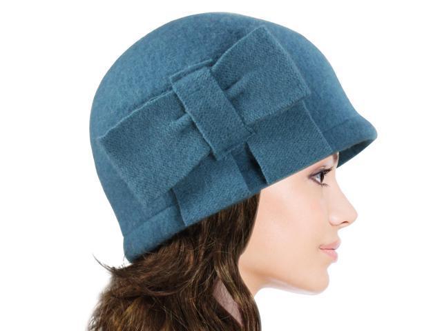 Dahlia Women's Vintage Large Bow Wool Cloche Bucket Hat - Teal Blue