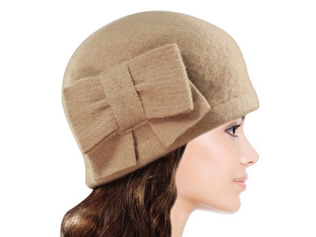 Women's Vintage Large Bow Wool Cloche Bucket Hat - Tan